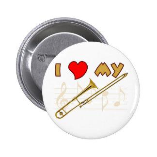 Amor del Trombone Pin Redondo De 2 Pulgadas
