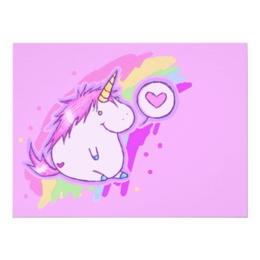 """Amor del unicornio invitación 6.5"""" x 8.75"""""""