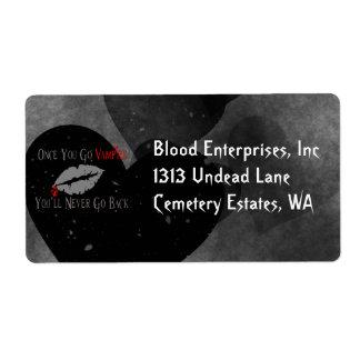 Amor del vampiro etiquetas de envío