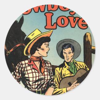 Amor del vaquero etiquetas redondas