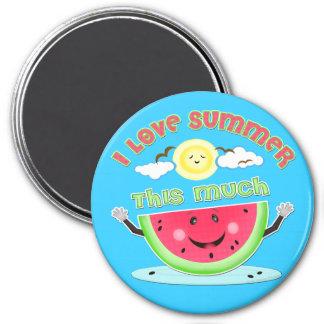 Amor del verano de la sandía imán redondo 7 cm