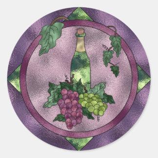 Amor del vino del vitral pegatina redonda