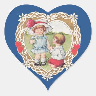 ¡Amor del vintage en un corazón! Pegatina En Forma De Corazón