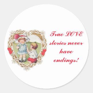 ¡Amor del vintage en un corazón! Pegatina Redonda