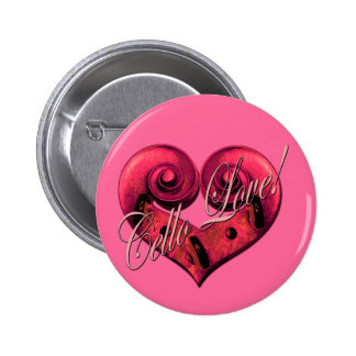 amor del violoncelo pin redondo de 2 pulgadas