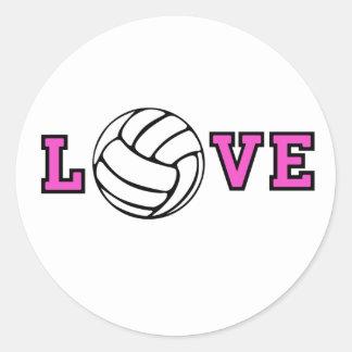 Amor del voleibol pegatina redonda