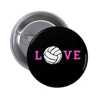 Amor del voleibol pin redondo de 2 pulgadas