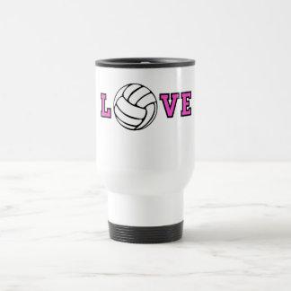 Amor del voleibol taza de viaje de acero inoxidable