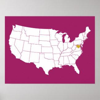 Amor del Washington DC de la baya y del oro Póster