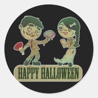 Amor del zombi, Holloween feliz Pegatina