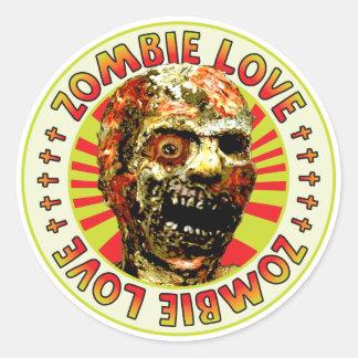 Amor del zombi etiquetas redondas
