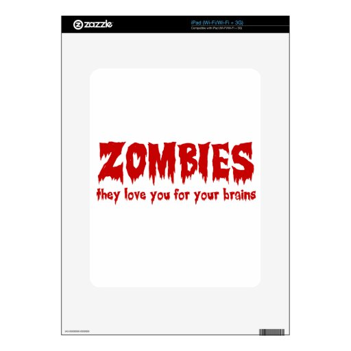 Amor del zombi usted para sus cerebros iPad skin