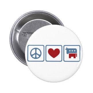 Amor Demócratas de la paz Pins