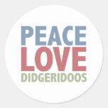 Amor Didgeridoos de la paz Etiqueta Redonda