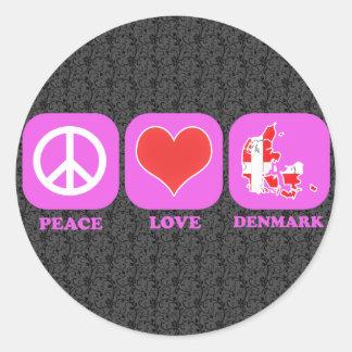 Amor Dinamarca de la paz Pegatina Redonda