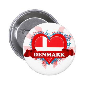 Amor Dinamarca del vintage I Pin Redondo 5 Cm