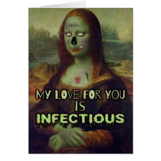Amor divertido de Mona Lisa del zombi del el día Tarjeta De Felicitación