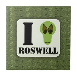 Amor divertido Roswell de I Azulejo Cuadrado Pequeño