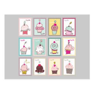 Amor dulce del bocado de los postres del collage d postales