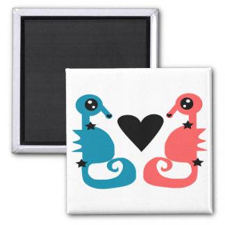 Amor dulce del Seahorse Imán Cuadrado