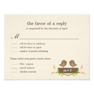 Amor dulce que casa la tarjeta de RSVP Comunicado Personal