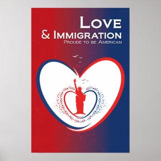 Amor e inmigración - los E.E.U.U. Póster