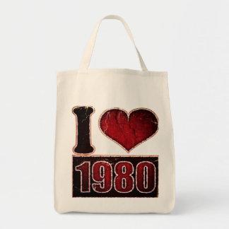 Amor el an o 80 del vintage I - bolsos Bolsa Tela Para La Compra