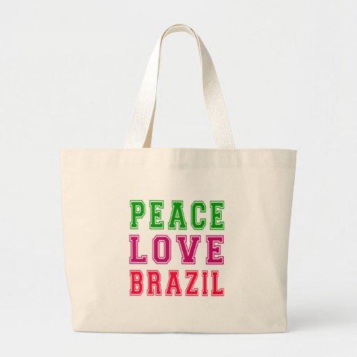 Amor el Brasil de la paz Bolsas De Mano