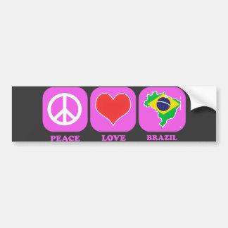 Amor el Brasil de la paz Etiqueta De Parachoque