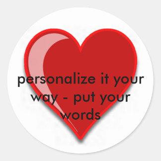 Amor - el corazón rojo de encargo añade su texto pegatina
