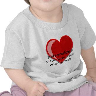 Amor - el corazón rojo de encargo añade su texto camisetas