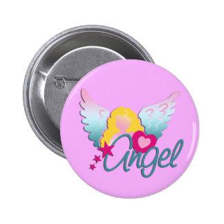 Amor el   de los ángeles rosa claro pin redondo de 2 pulgadas