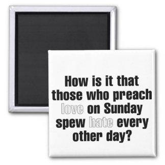 Amor el domingo, odio el lunes imán cuadrado