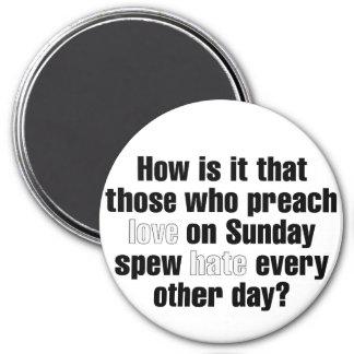 Amor el domingo, odio el lunes imán redondo 7 cm