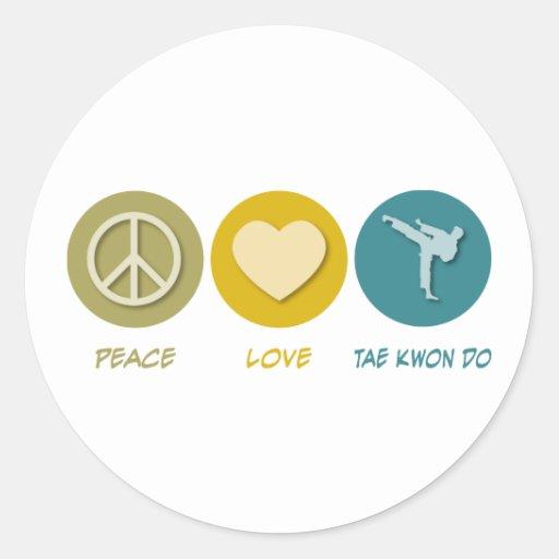 Amor el Taekwondo de la paz Pegatinas Redondas