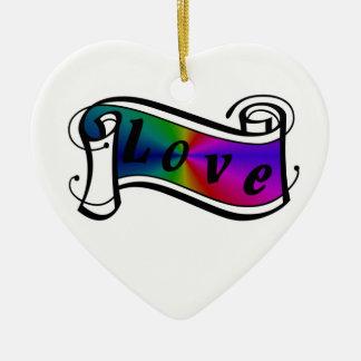 Amor en arco iris Fantasy especie - Art Deco Adorno Navideño De Cerámica En Forma De Corazón