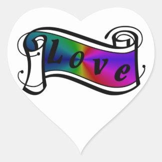 Amor en arco iris Fantasy especie - Art Deco Pegatina En Forma De Corazón