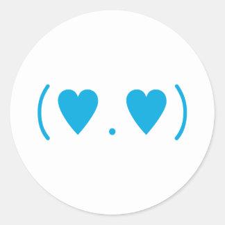 Amor en azul claro pegatina redonda