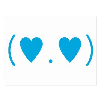 Amor en azul claro postal