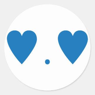 Amor en azul marino pegatina redonda
