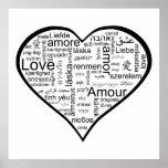 Amor en corazón de muchas idiomas posters