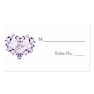 Amor en cuaesquiera tarjetas púrpuras del lugar de tarjeta de visita