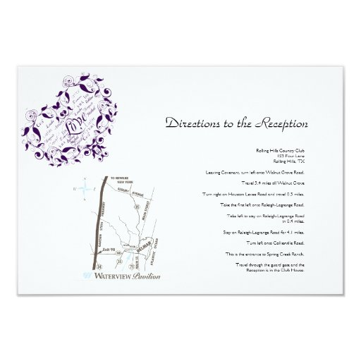 """Amor en cualquier lengua en direcciones púrpuras invitación 3.5"""" x 5"""""""