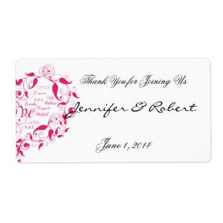 Amor en cualquier lengua en etiqueta rosada de la  etiqueta de envío