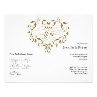 Amor en cualquier lengua en programa del boda del tarjetas publicitarias