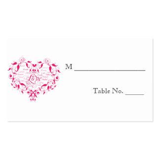 Amor en cualquier lengua en tarjetas rosadas del l tarjetas de visita