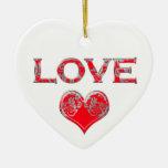 Amor en damasco de plata rojo ornamentos para reyes magos