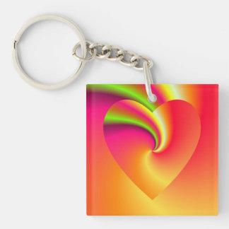 Amor en disfraz - en el extremo del arco iris llavero cuadrado acrílico a doble cara