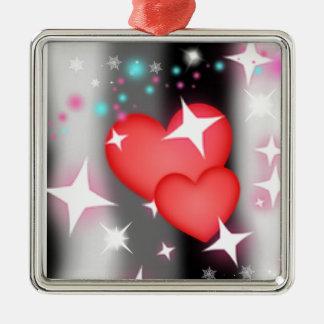 Amor en el cielo adorno navideño cuadrado de metal