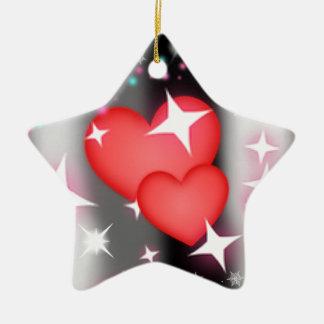 Amor en el cielo adorno navideño de cerámica en forma de estrella